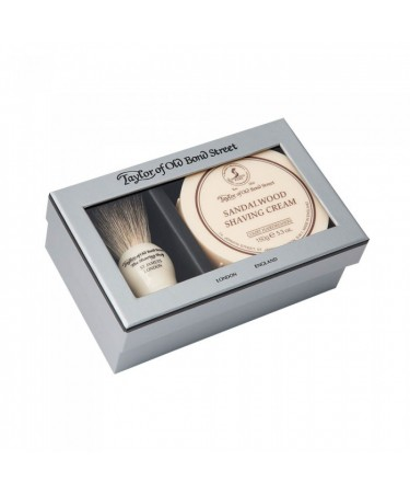 Set cadou Taylor of Old Bond Street cu pamatuf Pure Badger si crema de barbierit Sandalwood T00206