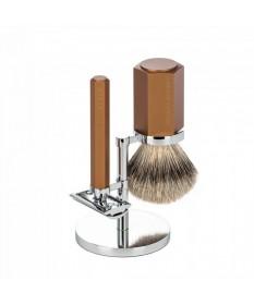 Set barbierit cu aparat de ras clasic si pamatuf Muehle Hexagon S 091 M HXG BRONZE