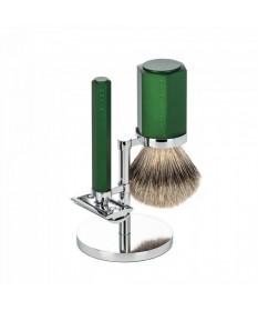 Set barbierit cu aparat de ras clasic si pamatuf Muehle Hexagon S 091 M HXG FOREST