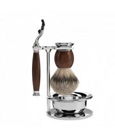Set de barbierit, aparat de ras compatibil Mach3, pamatuf cu par de bursuc, bol Muehle Sophist S 93 H 47 S
