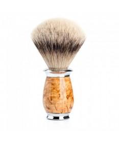 Pamatuf Silvertip Badger cu par de bursuc si maner din lemn de mesteacan karelian 091 H 55 - Pamatufuri